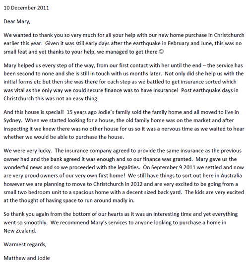Matthew and Jodie Letter