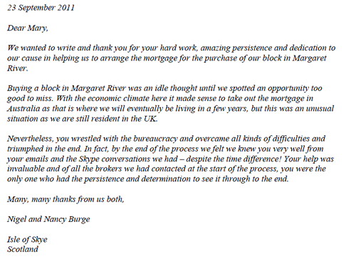 Nancy and Nigel Burge's Letter